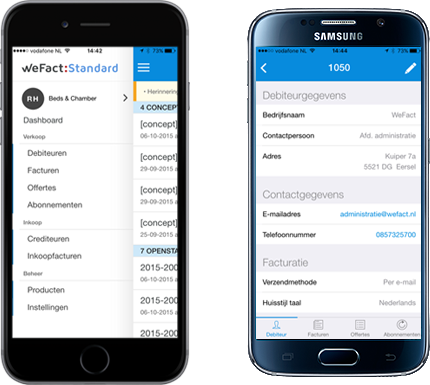 WeFact Standard iPhone en Android app