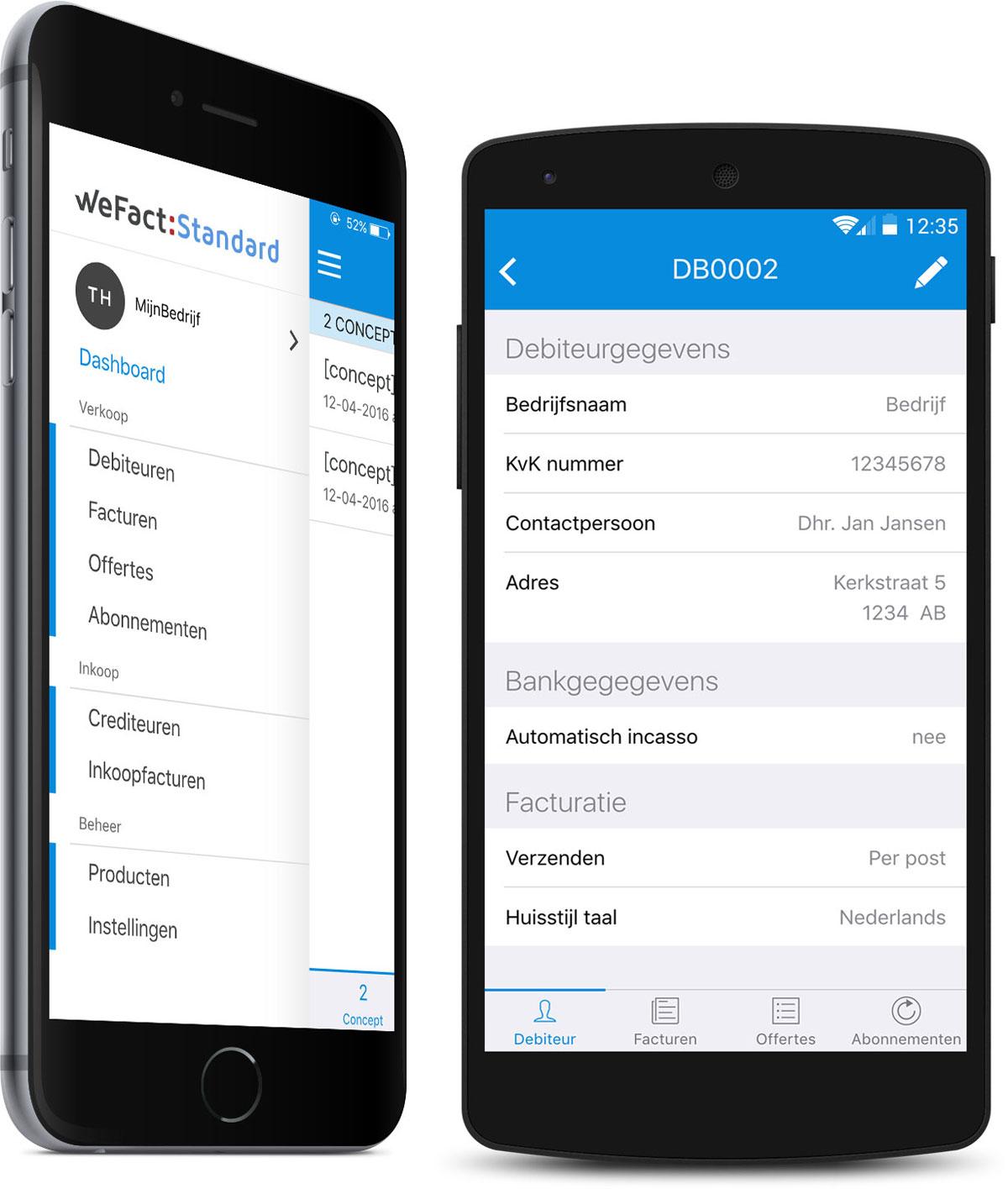 WeFact Standard mobiele app