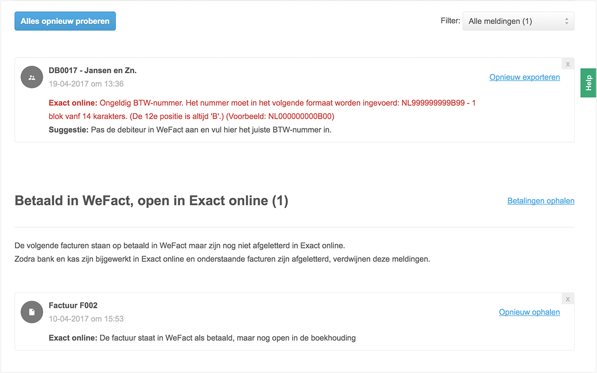 Betaald in WeFact, maar nog open in de boekhouding
