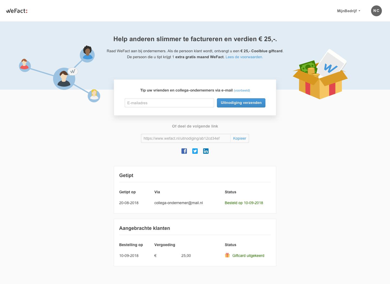 Tip WeFact aan anderen en verdien €25,-!