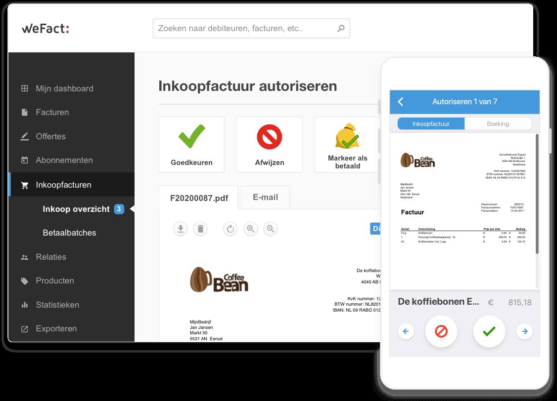 Inkoopfacturen goedkeuren of afwijzen in WeFact en in de app
