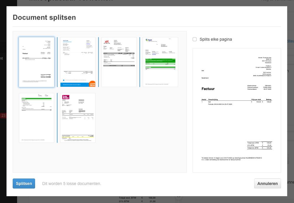 Een inkoopfactuur PDF splitsen in WeFact