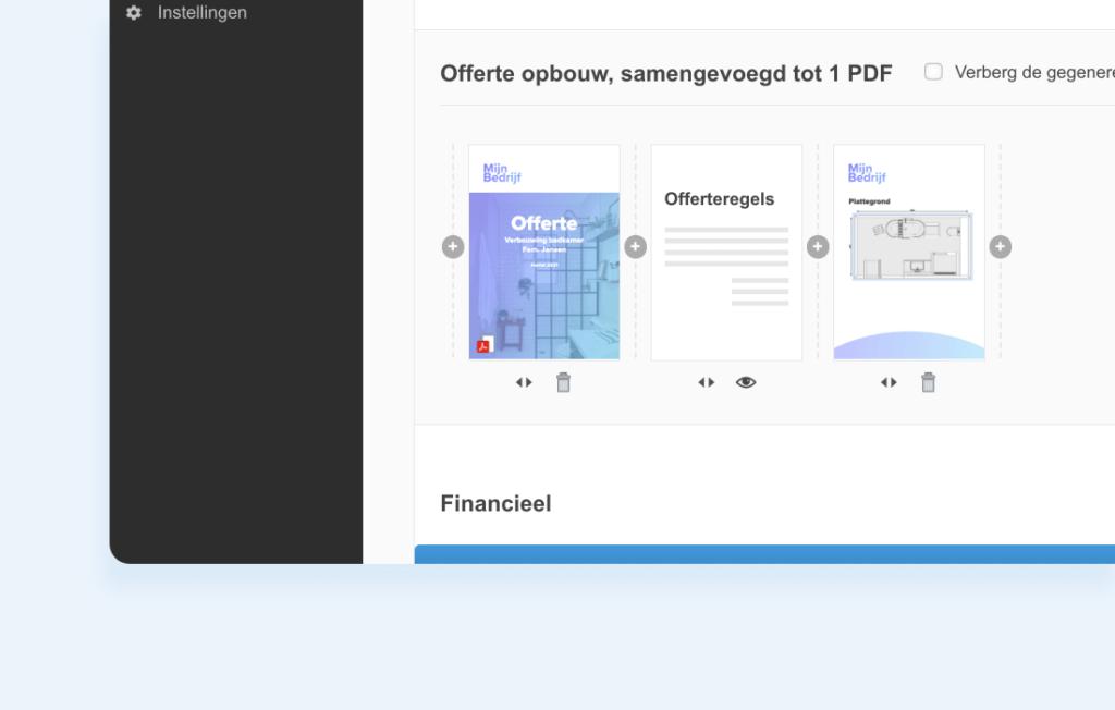 Offerte opbouw, samengevoegd tot 1 PDF