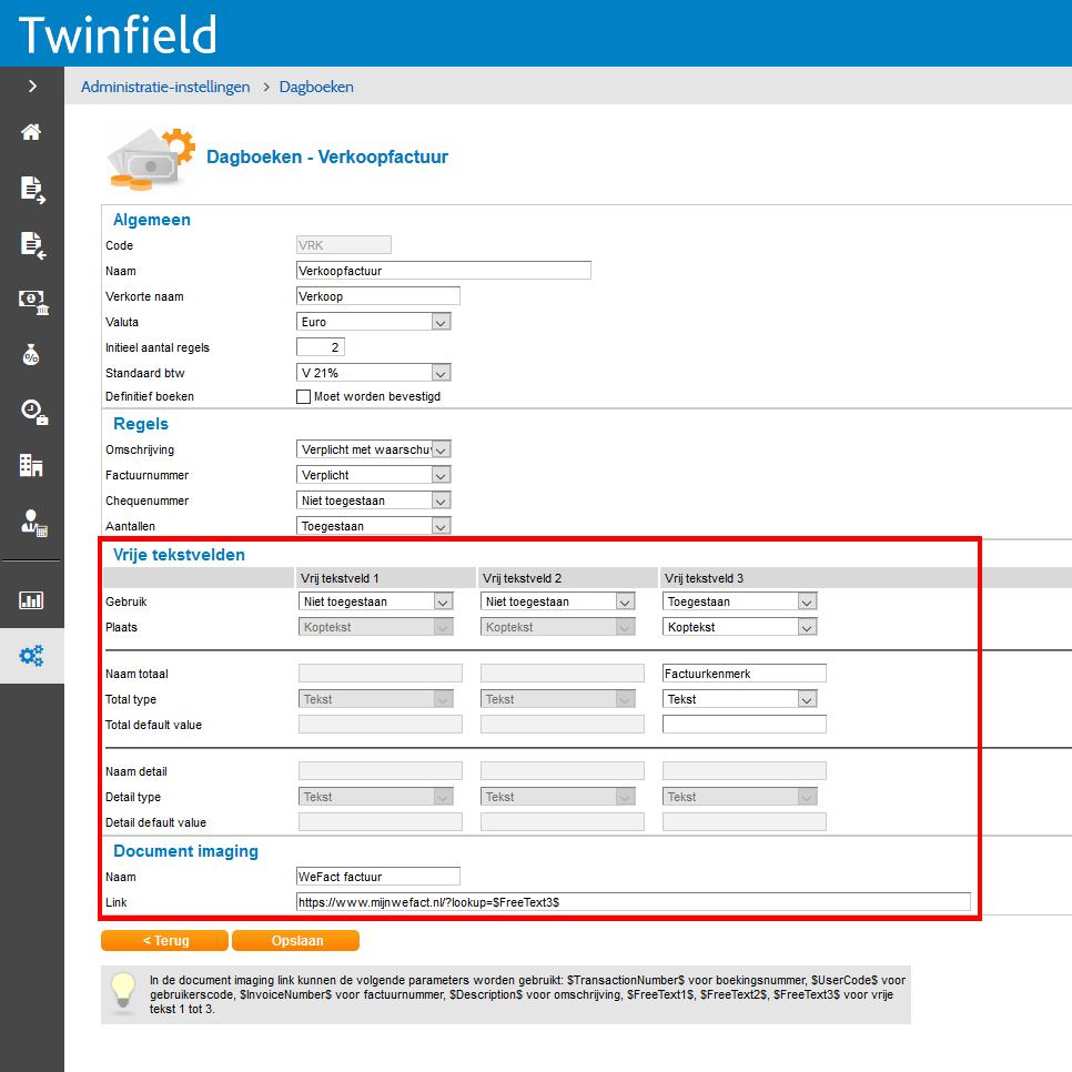 Twinfield: instellen documentlink