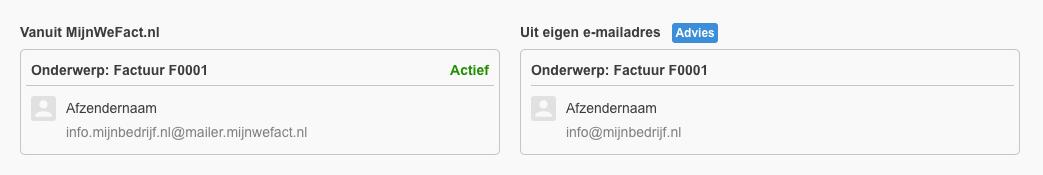 Verzendmethoden vanuit MijnWeFact.nl of uit eigen-mail adres