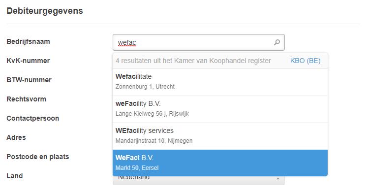 """Kies voor """"KBO"""" om over te schakelen naar het Belgische register."""