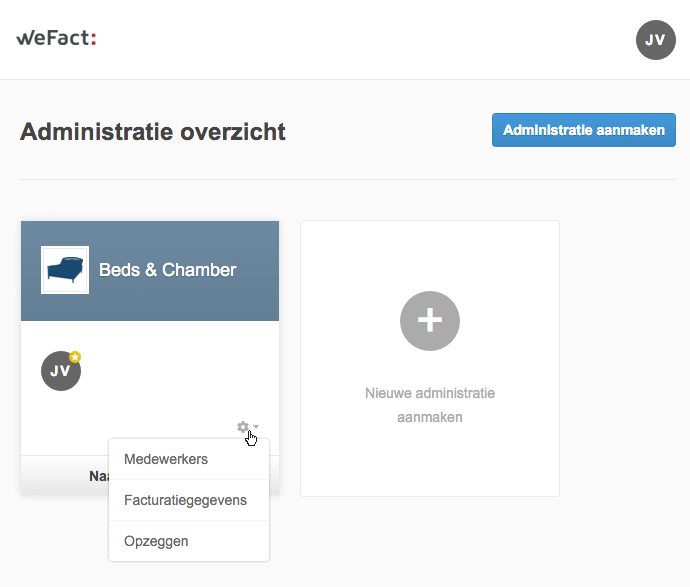 WeFact administratie facturatiegegevens wijzigen of opzeggen