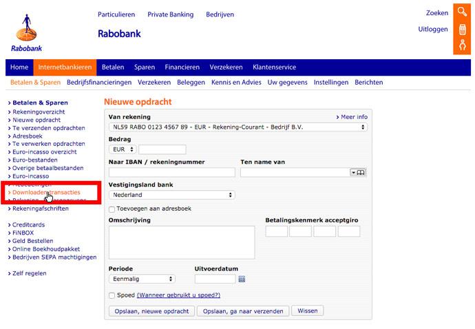 Banktransacties downloaden bij de Rabobank