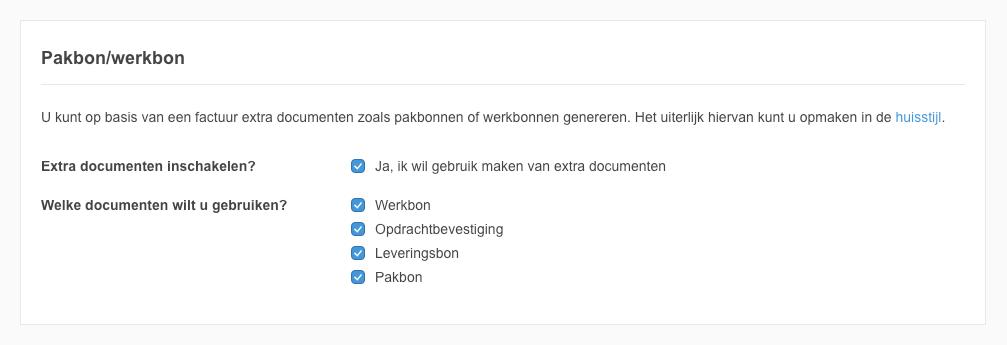 Instellingen pakbon/werkbon en meerdere documenten genereren