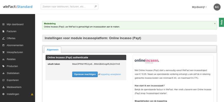 WeFact toegang geven tot Online Incasso